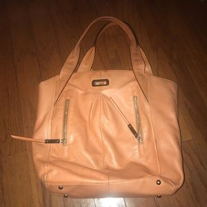 B. Makowsky Orange Leather Tote Bag Leopard Lining